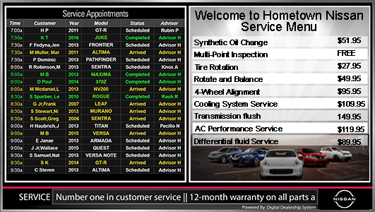 Nissan service appointment menu sign